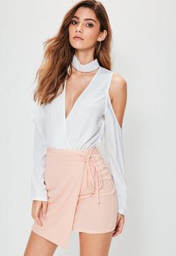 Różowa ekskluzywna spódniczka mini wiązana po boku petite