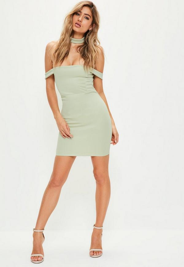 Petite Green Bardot Choker Bodycon Dress