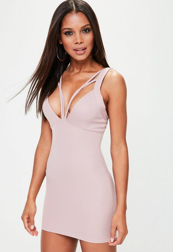 Petite Pink Double Bust Bodycon Dress