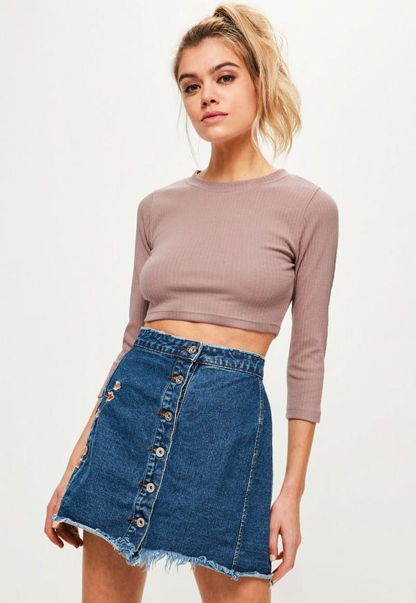 Petite Pink Crew Neck Ribbed Cropped Top