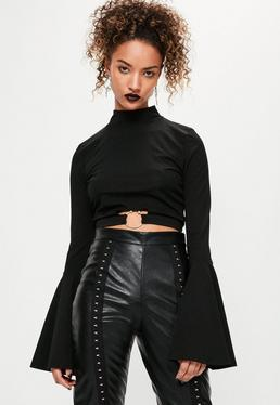 Petite Black Hoop Detail Flared Sleeve Crop Top