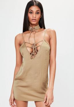 Petite Brown Hammered Satin Choker Neck Lace Up Dress