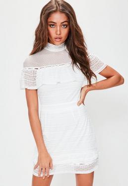 Petite White Frill Lace Button Detail Mini Dress
