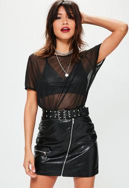 Czarna skórzana spódniczka mini z paskiem i ćwiekami petite exclusive