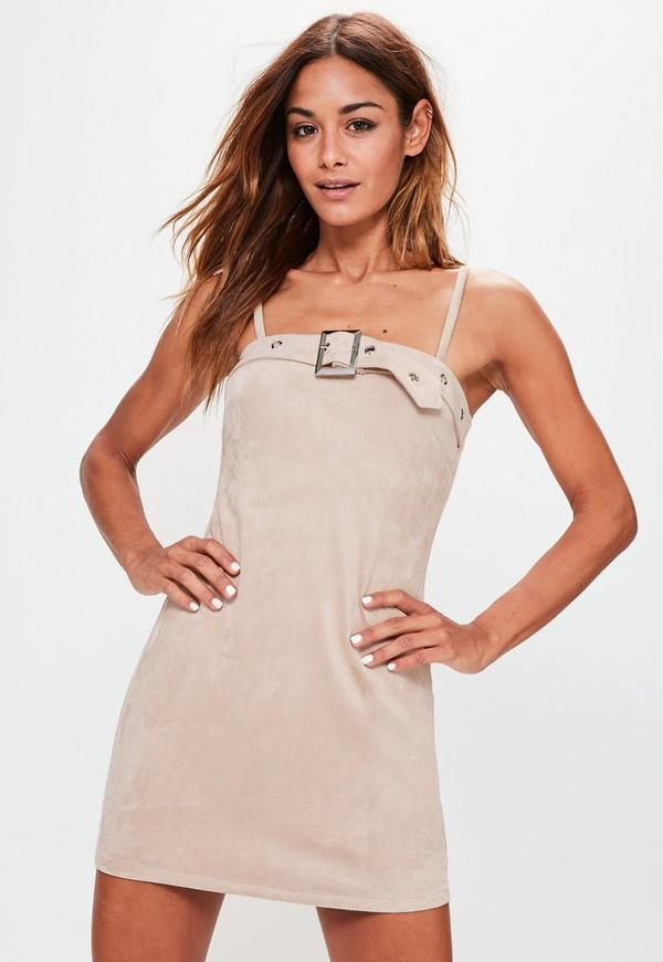 Petite Nude Belt Detail Faux Suede Mini Dress