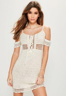 Petite Cream Supported Bardot Crochet Dress