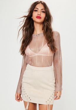 Różowa zamszowa spódniczka z ozdobnymi wiązaniami petite