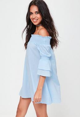 Petite Blue Bardot Sheered Dress