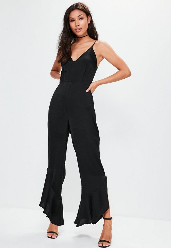 Petite Black Strappy Silky Culotte Jumpsuit