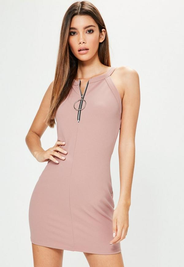 Petite Exclusive Pink Racer Ring Pull Mini Dress