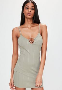 Petite Exclusive Green Oversized Ring Ribbed Mini Dress