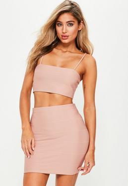 Petite Pink Bandage Ribbed Mini Skirt