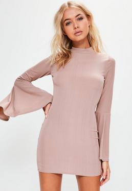 Petite Exclusive Purple Flared Sleeve Ribbed Mini Dress