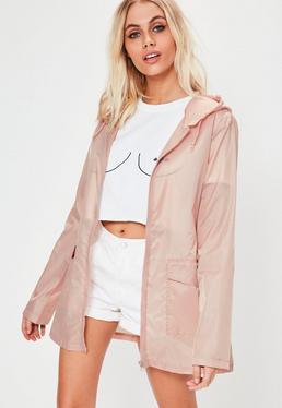 Różowy krótki płaszczyk przeciwdeszczowy petite