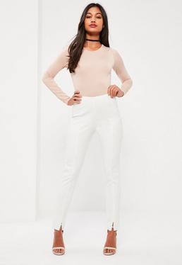 Białe dopasowane spodnie cygaretki Petite