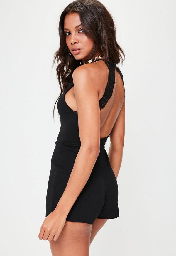 Petite Black Lace Back Playsuit