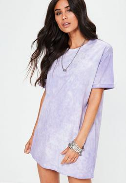 Petite Purple Tie Dye Oversized T-Shirt Dress