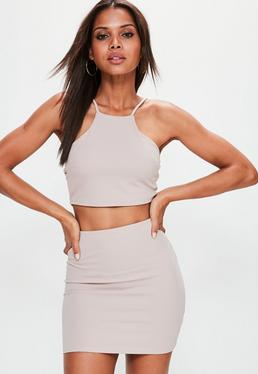Petite Exclusive Nude Cami Crop Top