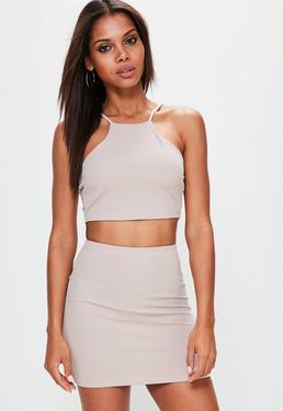 Petite Nude Bodycon Skirt