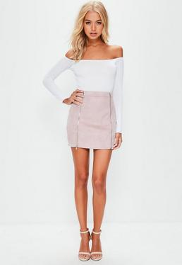 Petite Pink Faux Suede Double Zip Mini Skirt