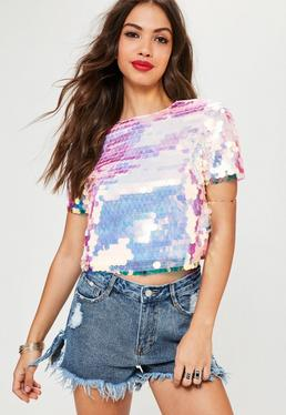 Petite Pink Extreme Sequin Top
