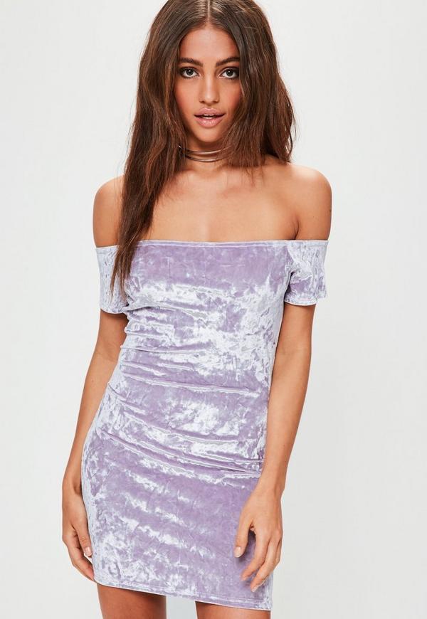 Petite Lilac Velvet Bardot Dress