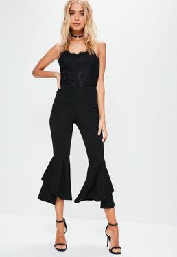 Pantalón petite de doble volante en negro