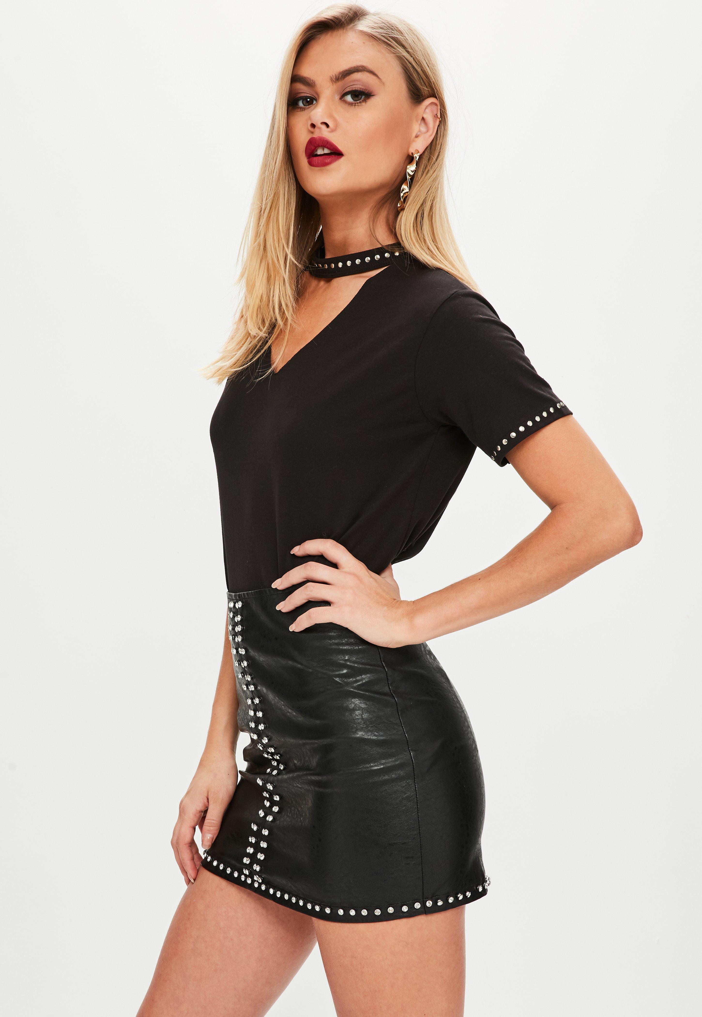 petite black diamante studd faux leather skirt | missguided ireland