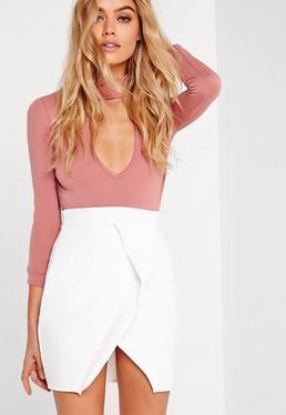 Mini-jupe portefeuille blanche en néoprène Petite
