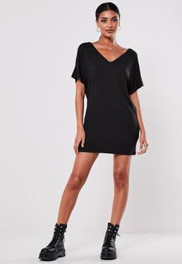 Petite Black Wide V-neck T-shirt Dress