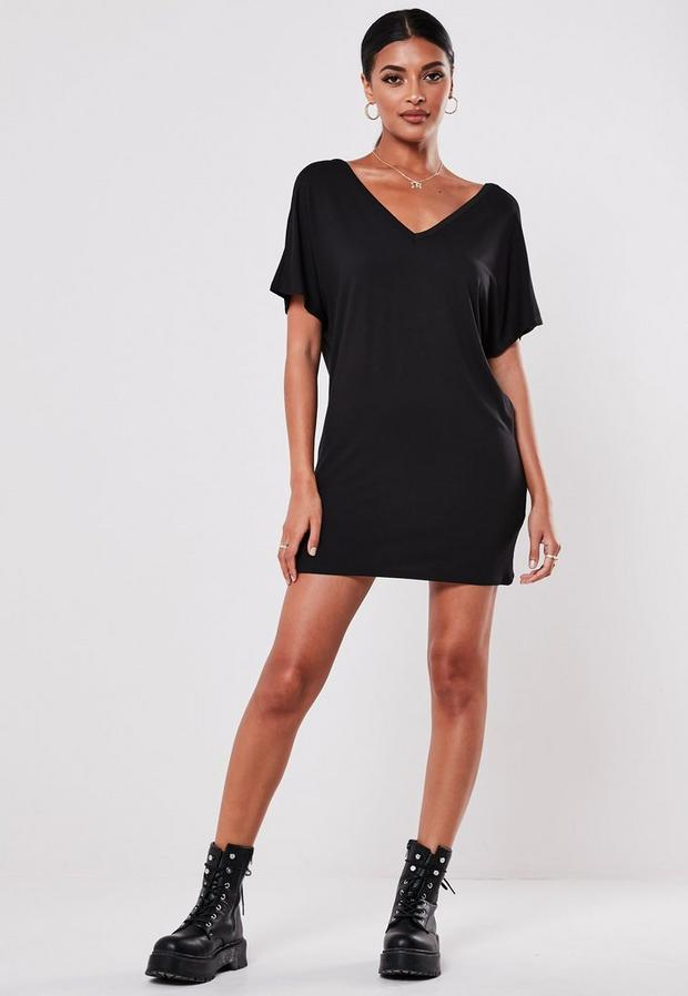 Missguided - Wide V-Neck T-Shirt Dress - 1