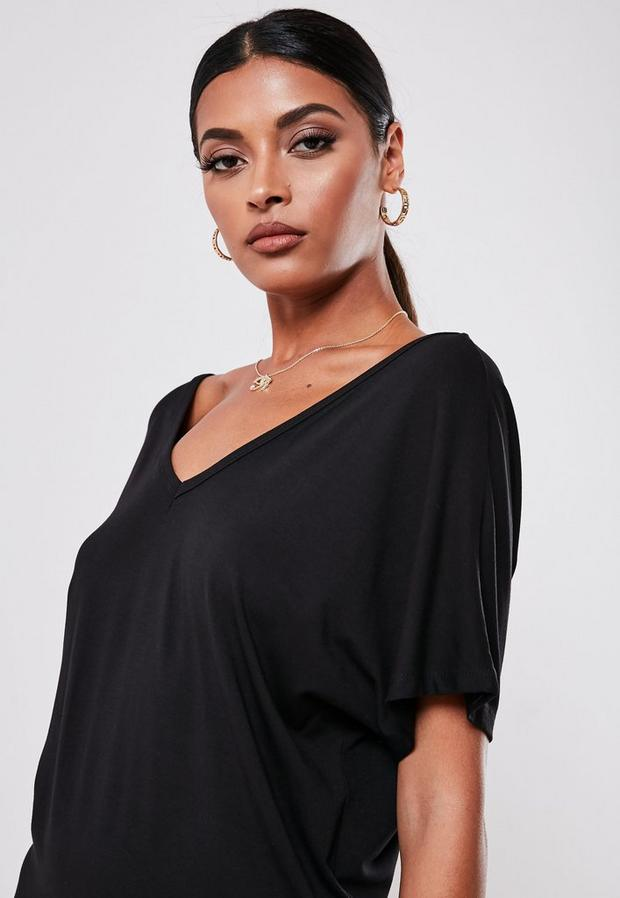 Missguided - Wide V-Neck T-Shirt Dress - 3