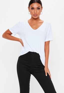 T-shirt boyfriend blanc à col en V Petite