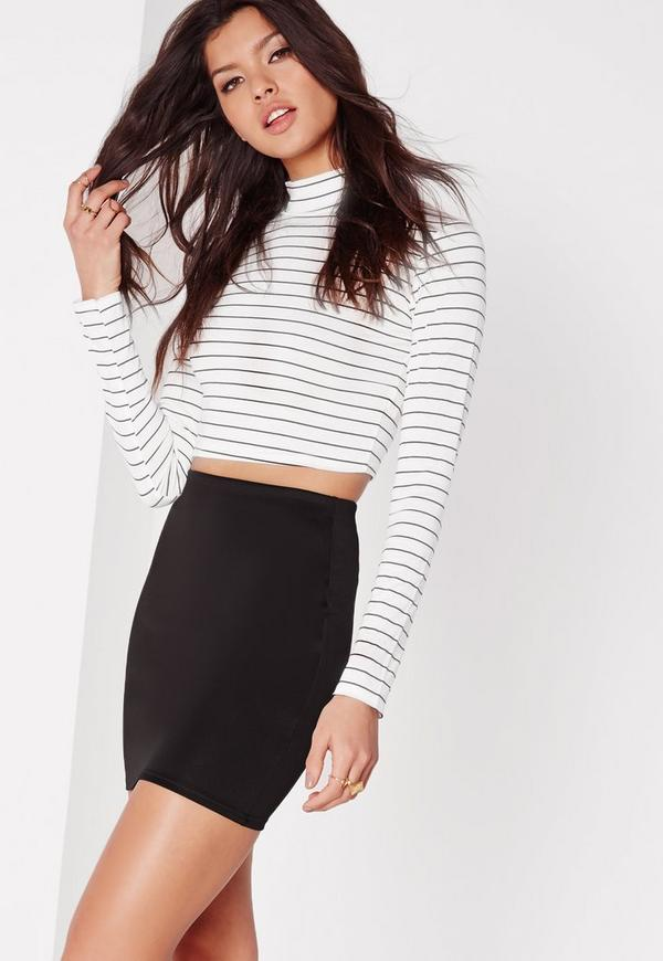 Petite Black Scuba Mini Skirt