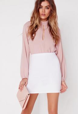 Petite White Scuba Mini Skirt