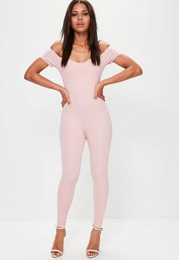 Petite Exclusive Pink Bardot Unitard Jumpsuit