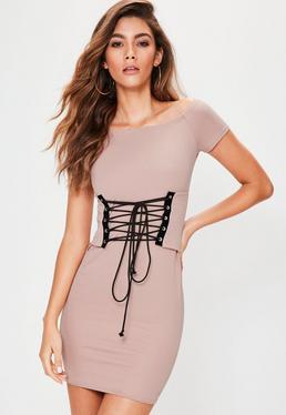 Petite Nude Bardot Corset Waist Mini Dress