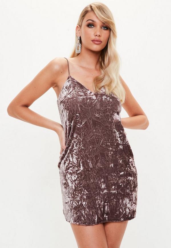 Petite Brown Crushed Velvet Cami Dress