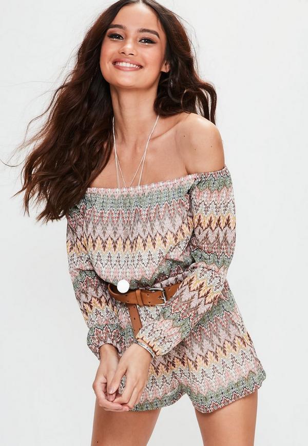 Petite Exclusive Nude Bardot Crochet Printed Playsuit