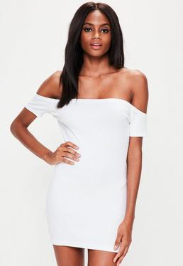 Petite White Bardot Ribbed Mini Dress