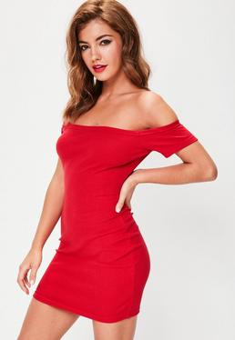 Petite Red Bardot Ribbed Mini Dress