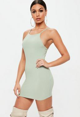 Petite Green 90's Neck Ribbed Mini Dress