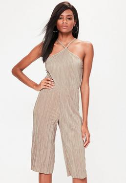 Petite Brown Pleated Culotte Jumpsuit