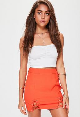 Petite Orange Double Lace Up Mini Skirt