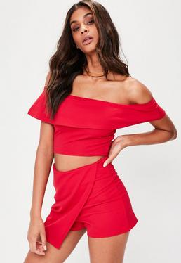 Petite Red Bardot Frill Crop Top
