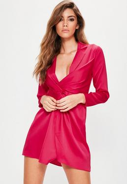 Petite Pink Satin Wrap Plunge Dress