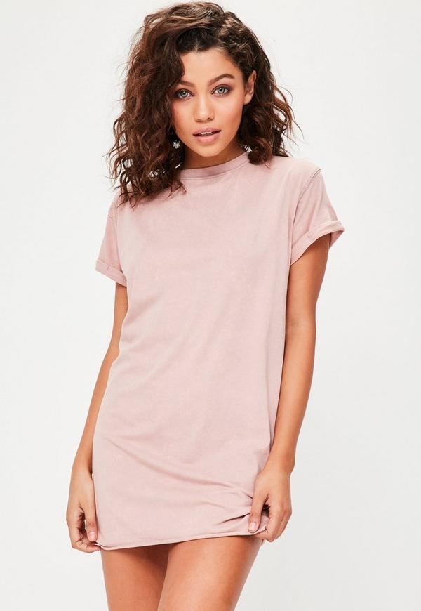 Petite nude washed t shirt missguided for Petite white tee shirt
