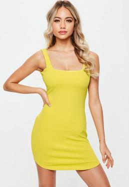 Petite Yellow Curve Hem Strappy Bodycon Dress