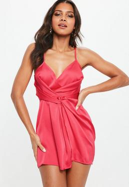 Petite Pink Satin Wrap Knot Cami Dress