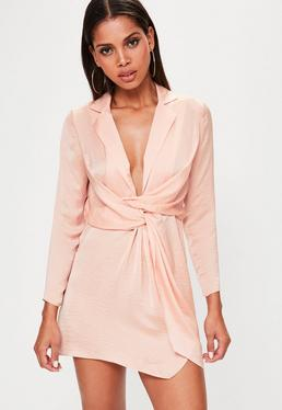 Petite Pink Satin Wrap Plunge Neck Dress